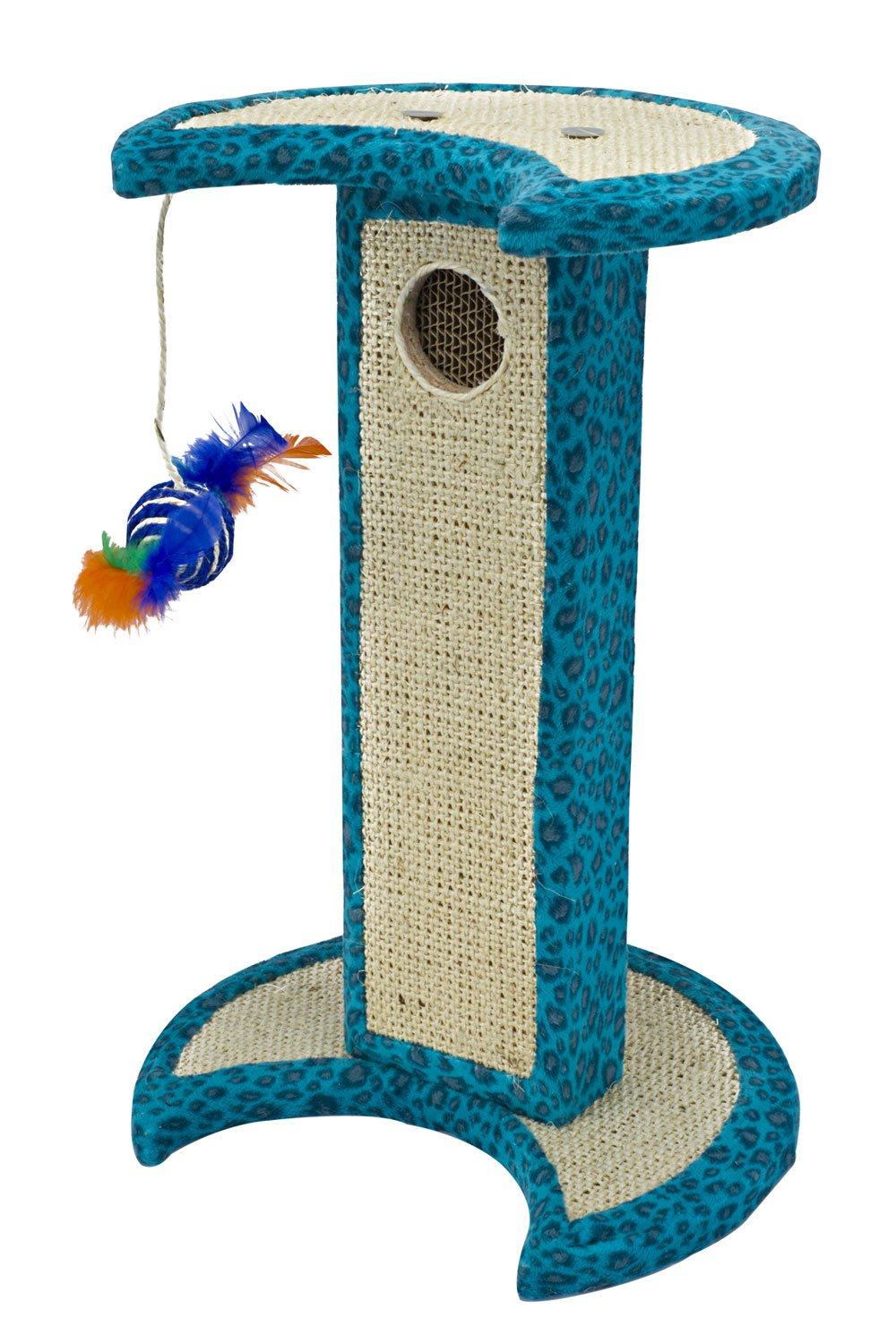 Penn Plax CATF38 Blue Jungle Cat Scratcher Cat Sisal Scratching Post - 18 in. Crescent Moon Tower B0097GY7IO