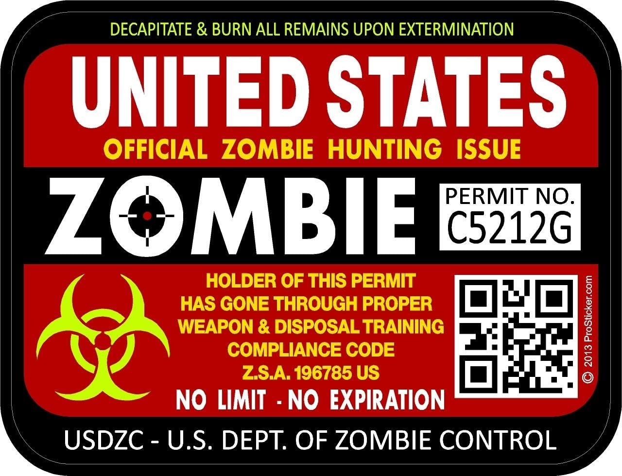 """Two United States Zombie Red Hunting License Permit 3/""""x4/"""" Decals Sticker 1201"""