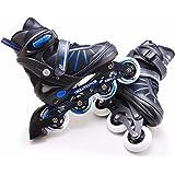 The Magic Toy Shop Junior 4 Wheel Adjustable Inline Skates Childrens Kids Boys Girls Roller Blades