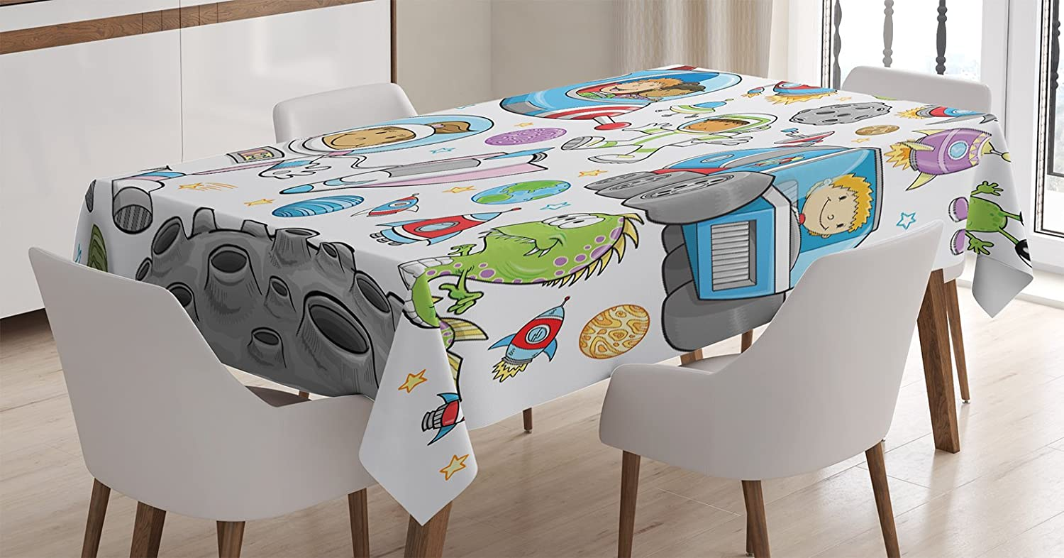 Ambesonne Outer Space Tablecloth, Deep Space Astronaut Girl Boy Aliens Rockets on Moon Theme, Rectangular Table Cover for Dining Room Kitchen Decor, 60