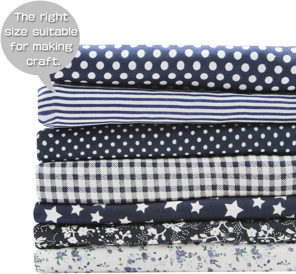 Printed Floral Cotton Fabric for Patchwork Quilting Patchwork Fabric Textile for Sewing Crafting Fat Quarter Bundles DIY Navy 7 pcs//lot 19.7 x 19.7 50cm x 50cm