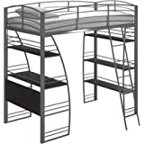 Amazon.com: DHP X-Loft Metal Bunk Bed Frame with Desk ...