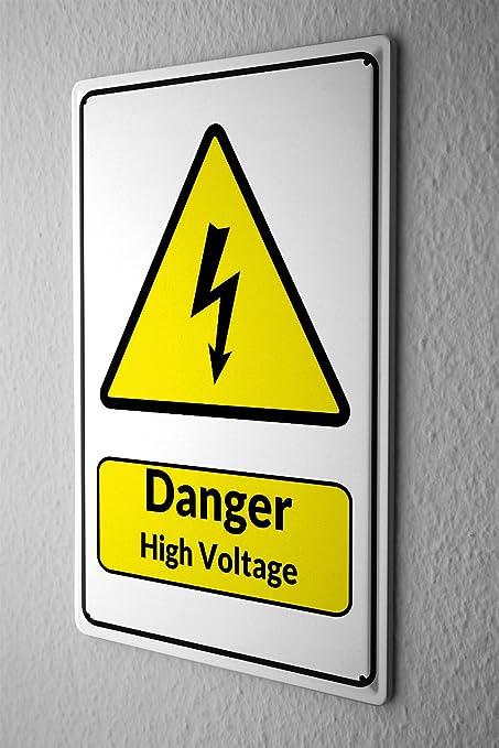 Amazon.com: Tin Sign Warning Sign Danger High Voltage lightning ...