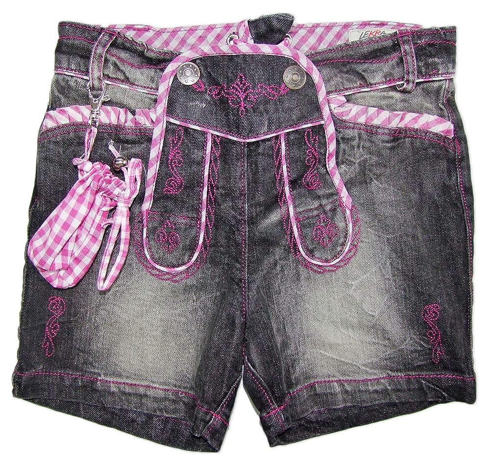 Lekra Mädchen Trachten Jeans Shorts Annalena - Anthrazit Beere - Kinder Hose%Sale% Trachtenland