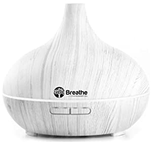 Breathe Essential Oil Diffuser | 550ml Diffusers for Essential Oils with Cleaning Kit & Measuring Cup | 16 LED Color Light Options, 4 Timer Settings, 2 Mist Outputs, Auto Power Off | White Marble