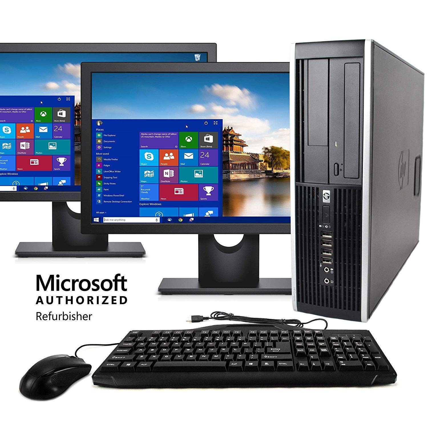 HP Elite Desktop Computer, Intel Core i5 3.1GHz, 8GB RAM, 1TB SATA HDD, Keyboard & Mouse, Wi-Fi, Dual 19in LCD Monitors (Brands Vary), DVD-ROM, Windows 10, (Renewed) by HP