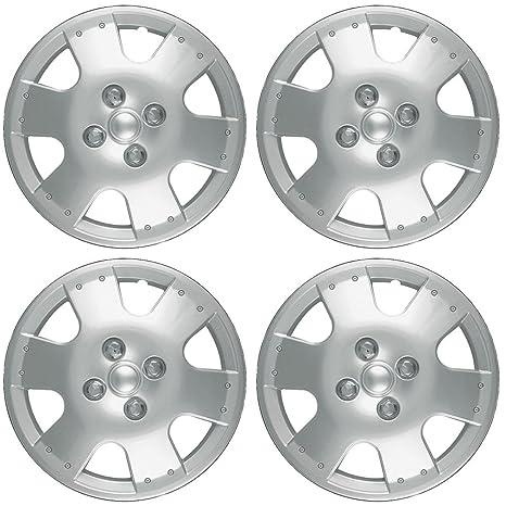 OxGord Tapacubos para Toyota Echo 2000 – 2005 fundas para ruedas de 14 pulgadas plata AUTO