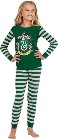 Tunnelzug elastischer Bund HARRY POTTER Slytherin Quidditch Mujer Pijama Verde-Gris