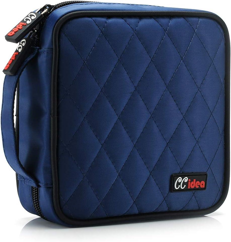 CCidea 40 Capacity CD/DVD Case Holder Portable Disc Wallet Storage Binder Nylon Cd Bag (Blue)