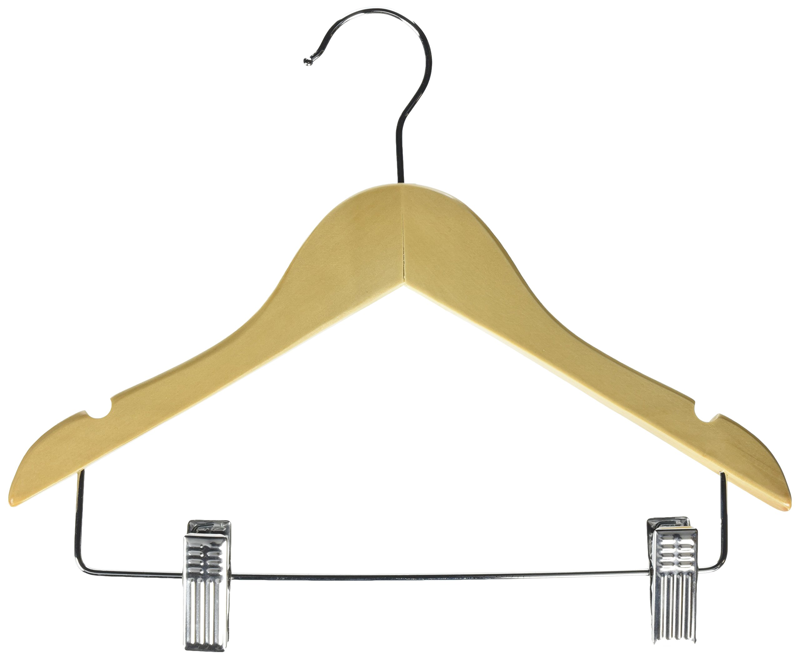 Honey-Can-Do HNGT01225 Kid's Basic Hanger with Clips Maple, 10-Pack