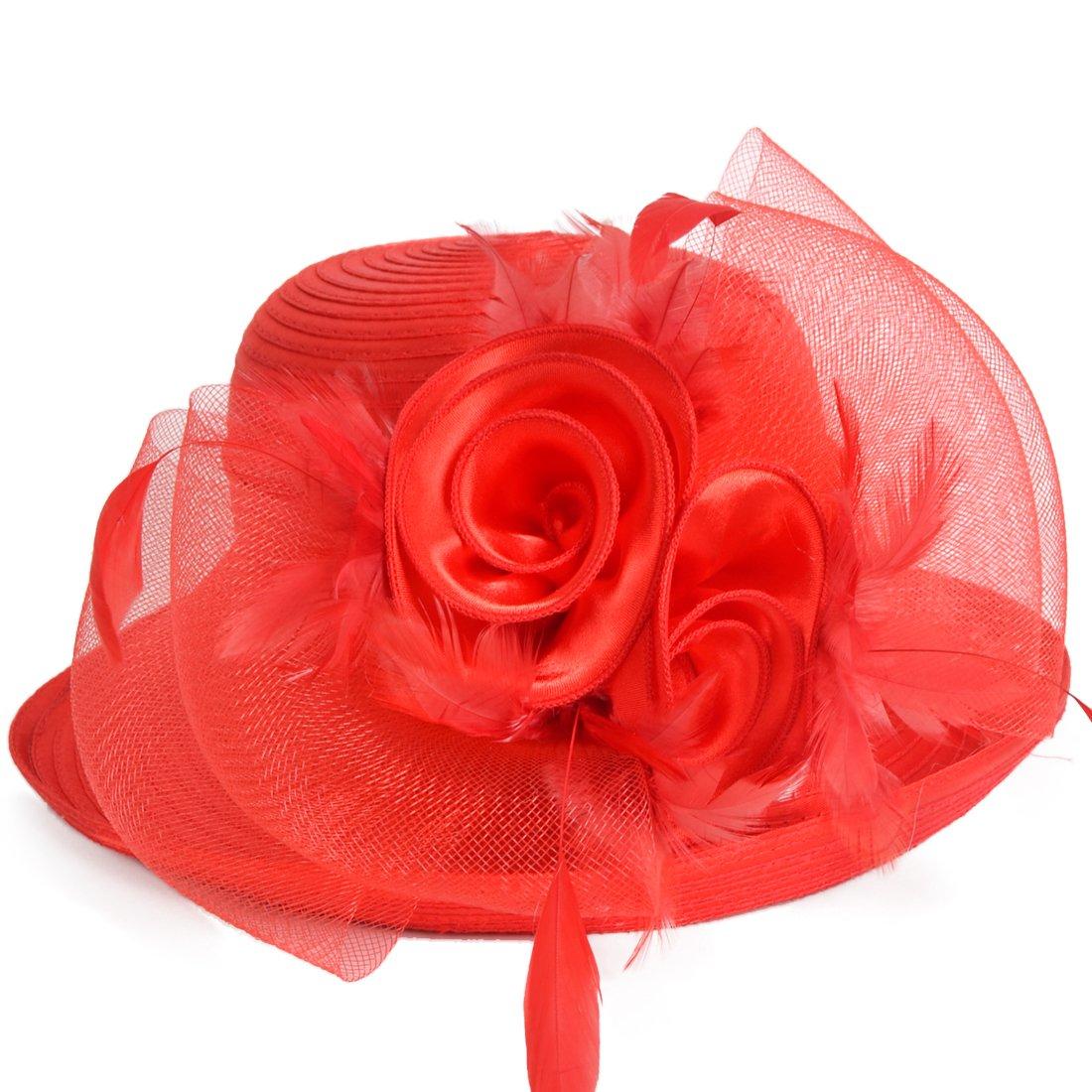 Lightweight Kentucky Derby Church Dress Wedding Hat #S052 (Bowler-Red)