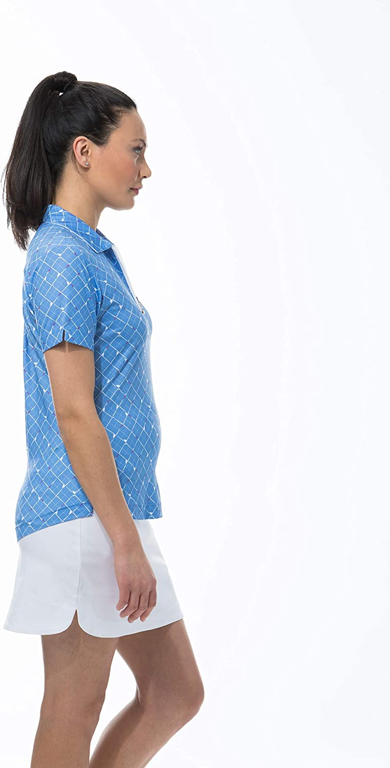 SanSoleil Womens SolCool UV 50 Shot Sleeve Fitted Polo Top