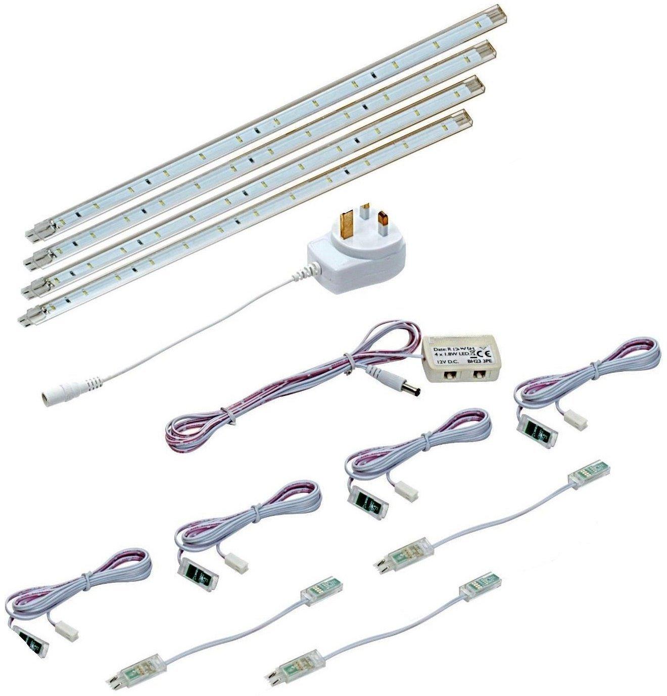Kitchen Unit Led Lights 4 X 30cm Plug In Led Under Kitchen Cupboard Cabinet Strip Lights