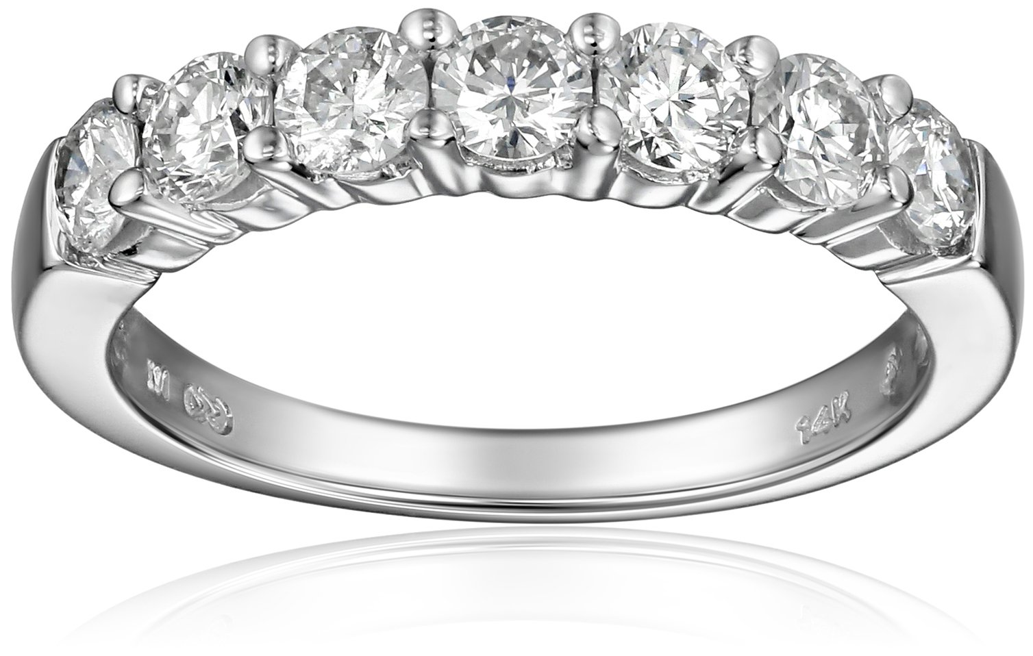 14k White Gold 7-Stone Diamond Ring (1 cttw, H-I Color, I1-I2 Clarity), Size 6