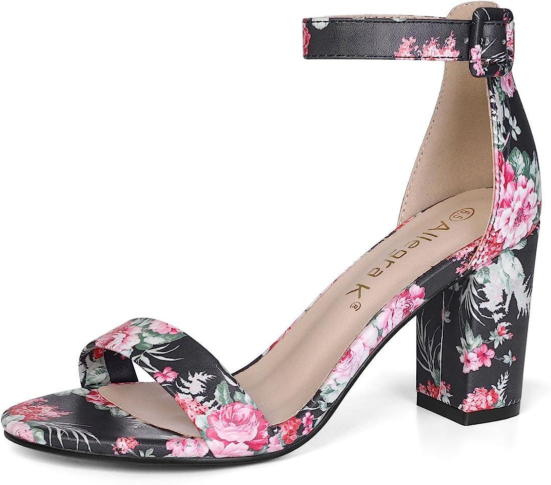 Floral Ankle Strap Block Heel Sandals