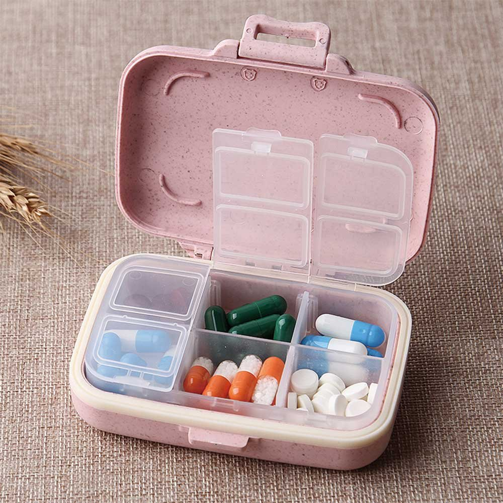 Small Weekly Pill Case-Cute Travel Vitamin Deep Oil Organizer Box for Women Safe Plastic Material 6-Compartment 3-Open Tab-Pink By Yuan She by Yuan She