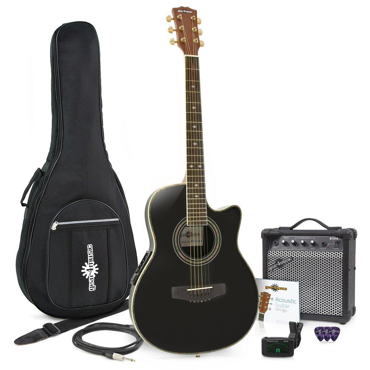 Electroacústica de Tapa Trasera Redonda + Ampli de 15W Negro: Amazon.es: Instrumentos musicales
