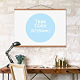 "lieomo Poster Frame, Magnetic Light Wood Frame Hanger for Photo Picutre Canvas Artwork Art Print Wall Hanging (1 Pack, Teak Color,20"")"