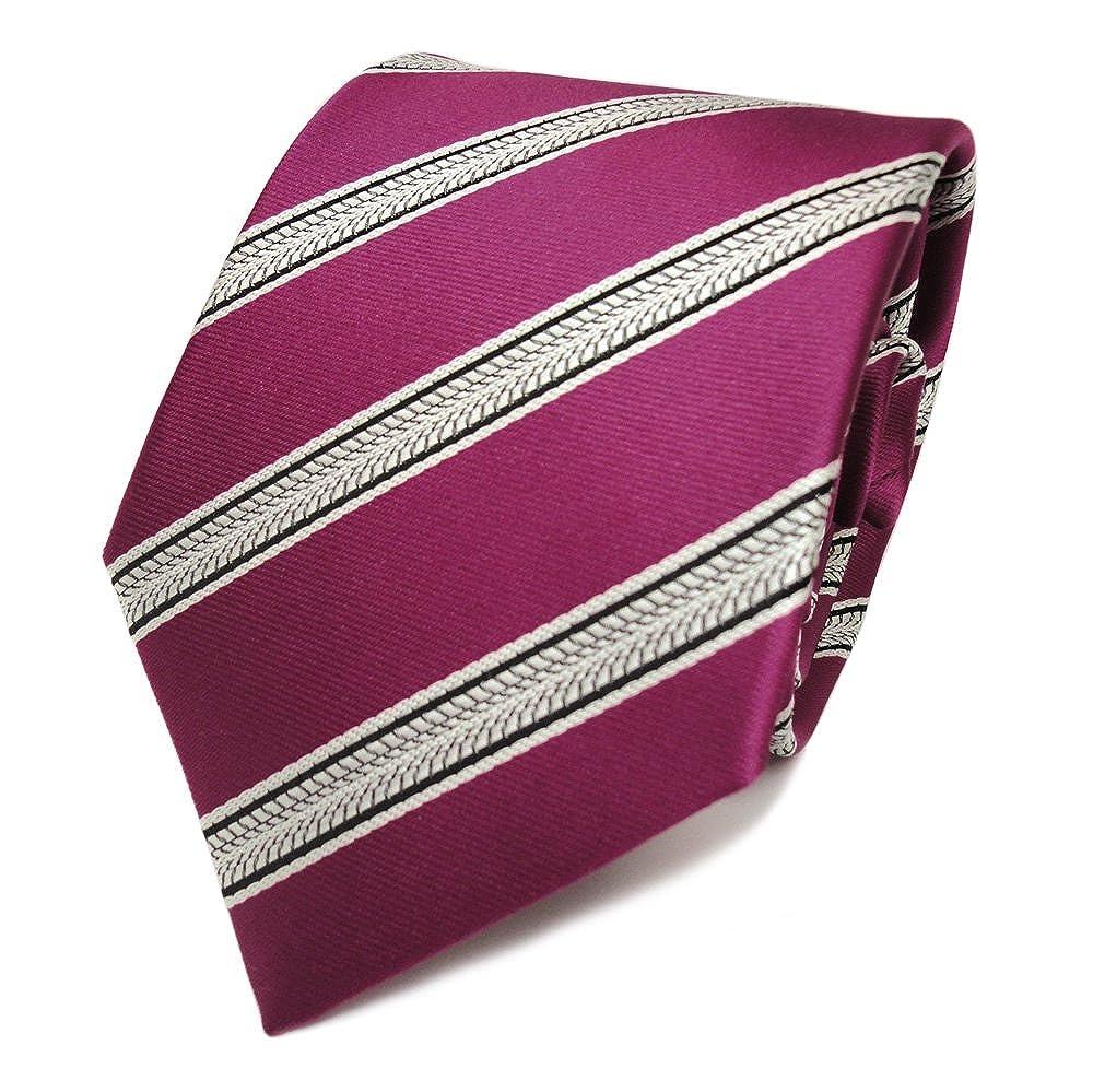 Corbata de seda - rojo frambuesa-roja negro gris rayas: Amazon.es ...