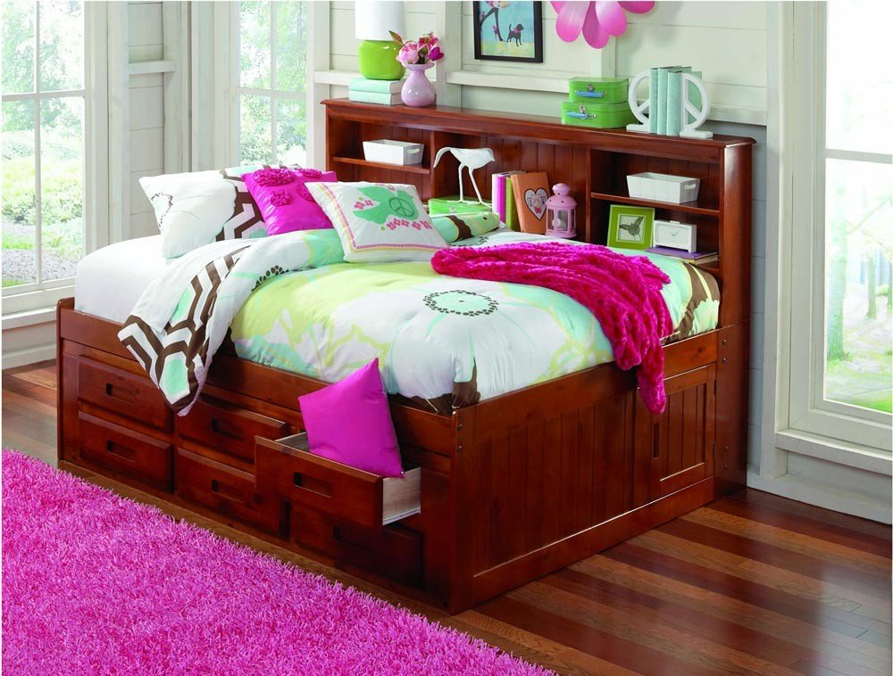 Discovery World Furniture Bookcase Daybed with 6 Drawers, Full, Merlot