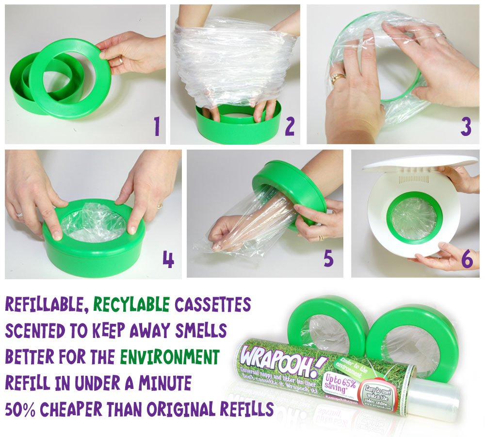 Angelcare compatible refillable nappy bin cassette & liner from Wrapooh. Equivalent to approx 10 standard cassettes and over 60% cheaper. Save money and be kinder to the environment. X10