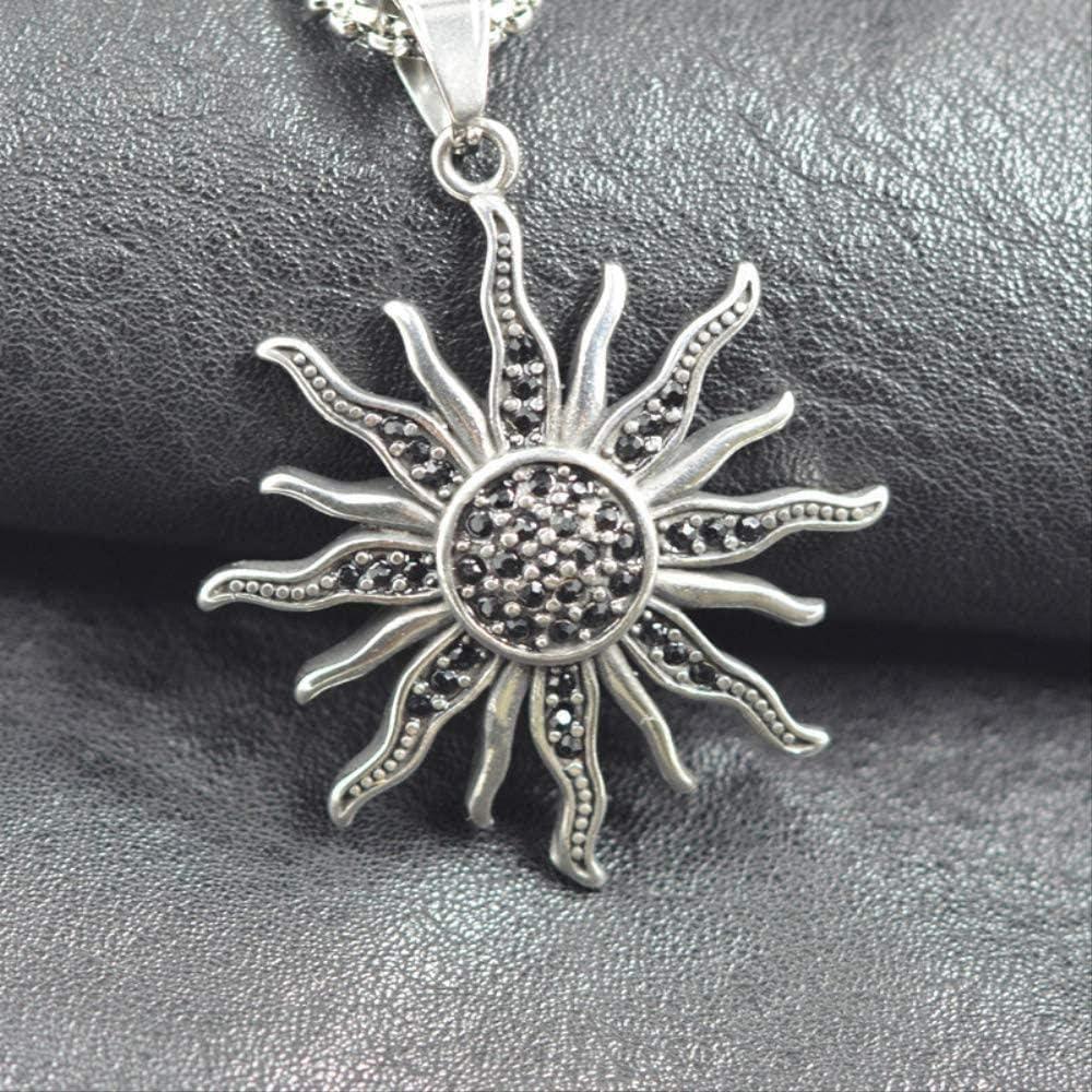 Yaoliangliang Collar Hip Hop Piedra Negra Color Plata Sol Flor Encantos 316L Acero Inoxidable TS Accesorios para Hombre Mujer Resultados de la joyería