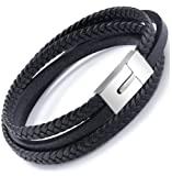Amazon Price History for:Mens Genuine Leather Bracelet Stainless Steel Mens Bracelet Braided Wristband