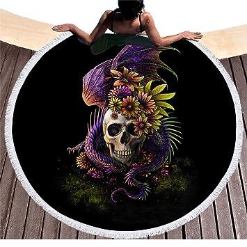 Calavera oscura con flores redondas Toalla de playa con borlas de la India Tribu Esqueleto Monster