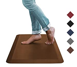 Oasis Kitchen Mats, Comfort Anti Fatigue Mat, 5 Colors and 3 Sizes, Perfect for Kitchens and Standing Desks, 20x32x3/4-Inch, Brown