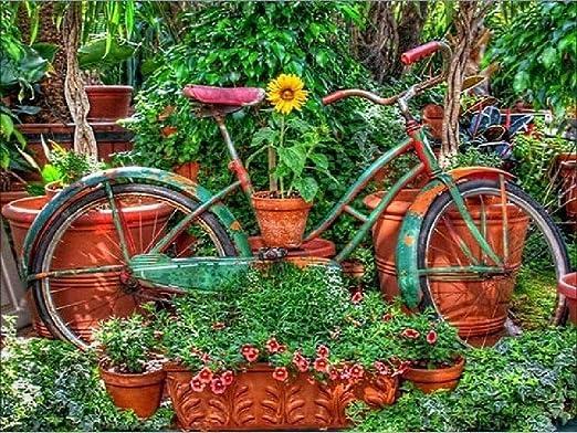 Puzzle De Madera Adulto 1000 Piezas Bicicleta En El Jardín Juegos ...