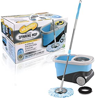 moprite spin mop deluxe stainless steel spin mop and bucket system with wheels dual