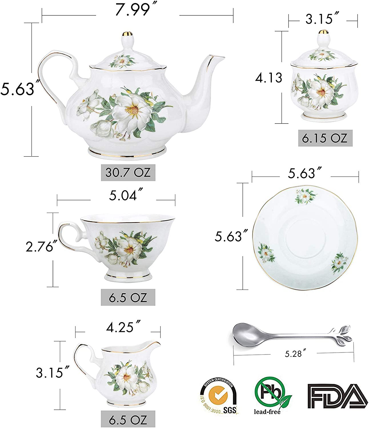 21-Piece Porcelain Ceramic Coffee Tea Gift Sets, Cups& Saucer Service for 6, Teapot, Sugar Bowl, Creamer Pitcher and Teaspoons. camellia