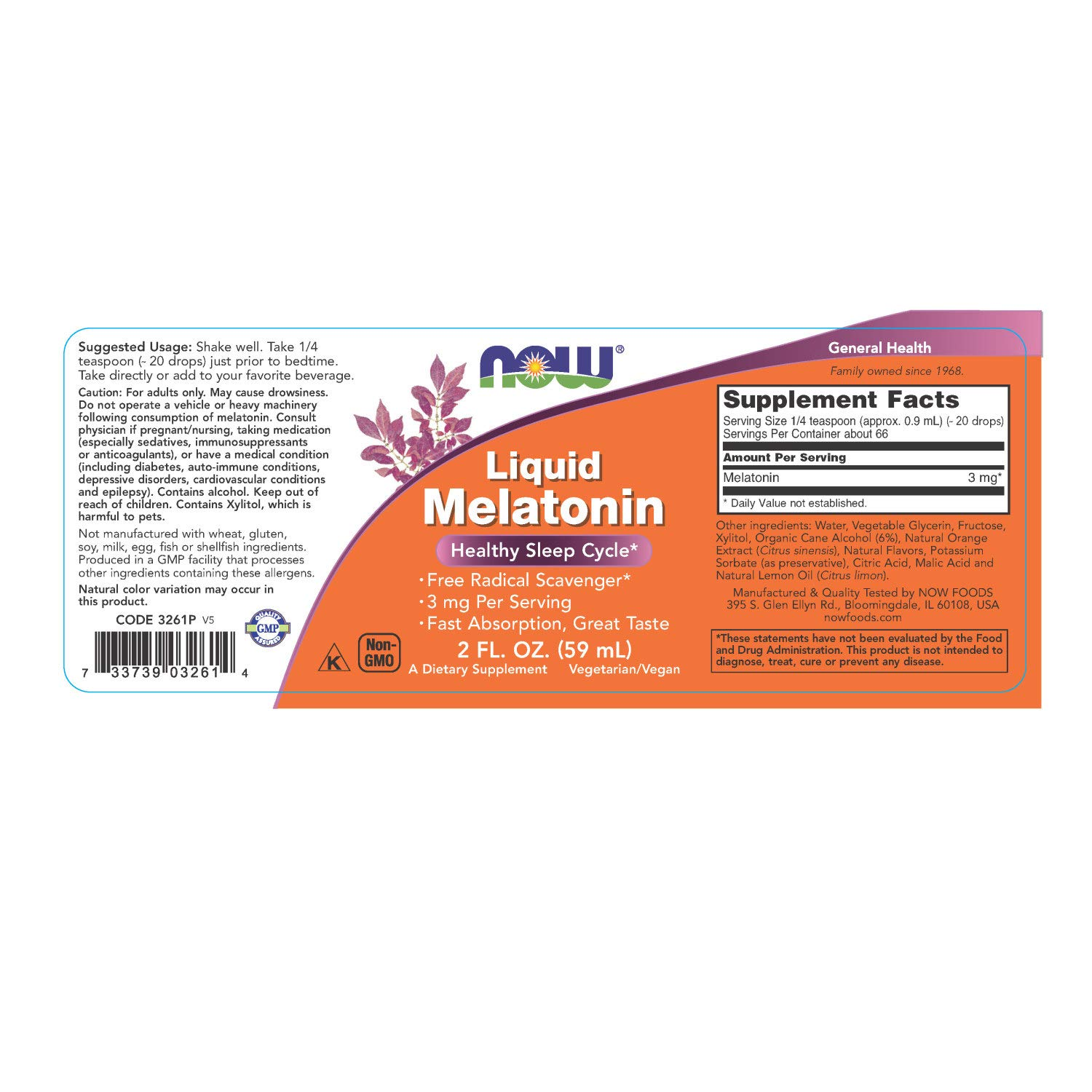 Amazon.com: NOW Supplements, Liquid Melatonin, 3 mg Per Serving, Fast Absorbtion and Great Taste, 2-Ounces: Health & Personal Care