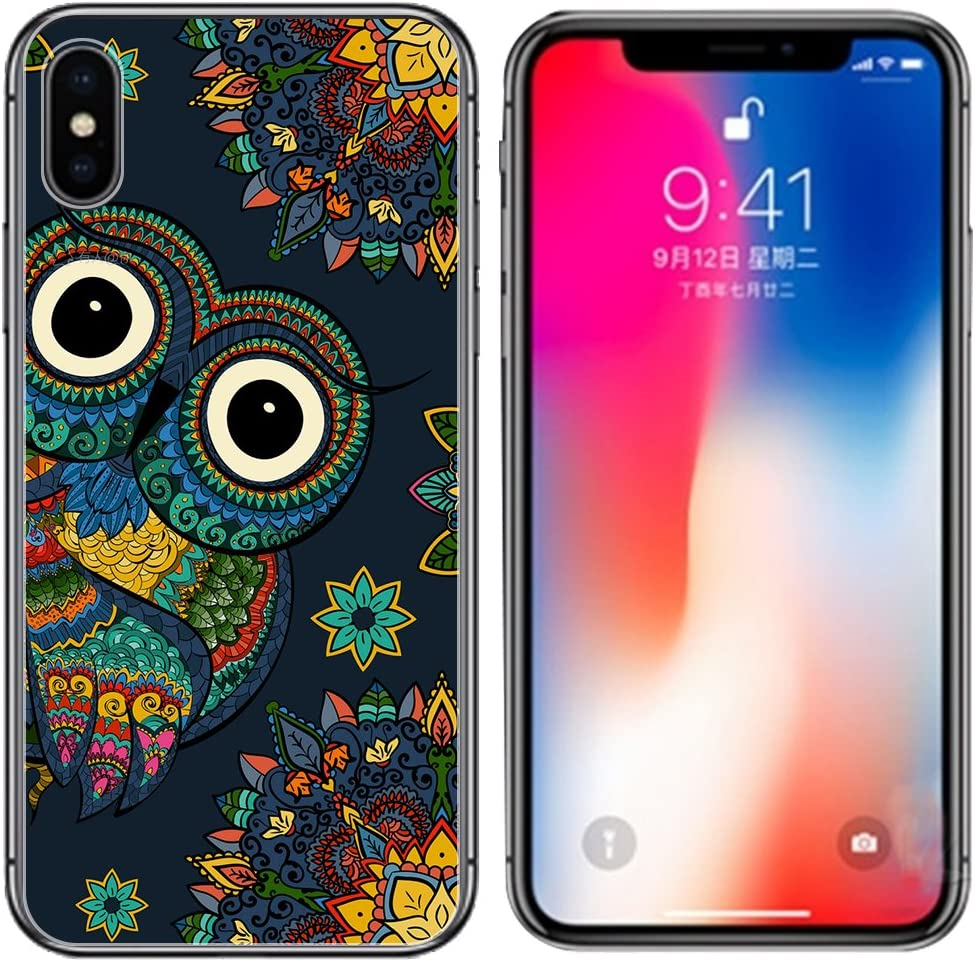 for iPhone Xs and iPhone X Case, Ailiber Creative Art Design Slim-Fit Anti-Scratch Anti-Finger Print Lightweight Soft TPU Protective Cover for Apple iPhoneXs iPhoneX 5.8in - Colorful Owl