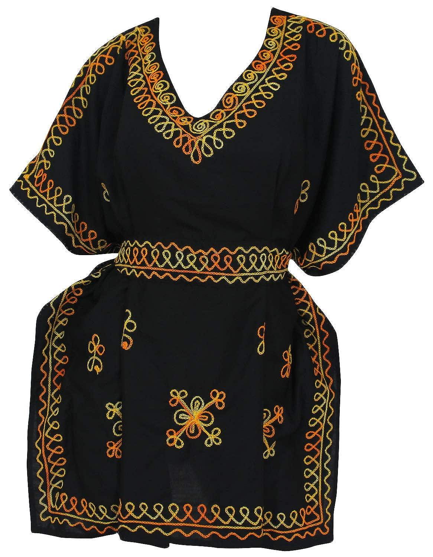 LA LEELA rayón suave bordado 5 en 1 traje baño traje baño partido la playa Caribe ligera bikini encubrir ropa noche vestido ocasional mujeres kaftan ...