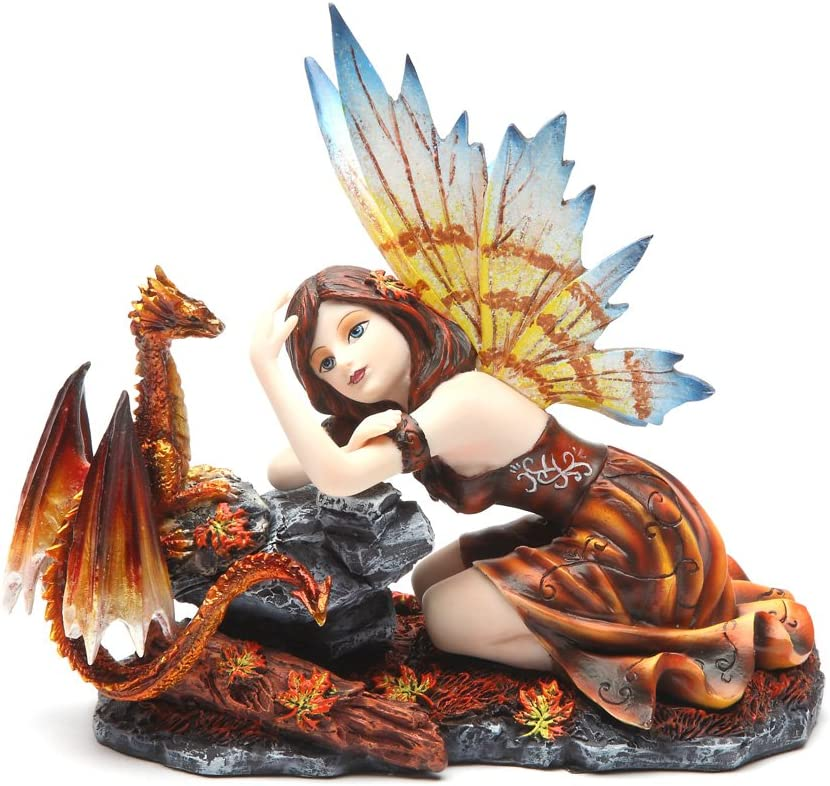 PTC 7.5 Inch Fairy with Red Dragon Statue Mythological Statue Figurine