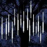 ohCome [Nuova Versione] Luci di goccia della pioggia dell'acquazzone di Meteor 50cm 10 Tubi a spirale 540 LED impermeabili delle luci della neve della neve di Icicle per la decorazione domestica dell'albero del giardino di Halloween di Natale di natale (Bianca)