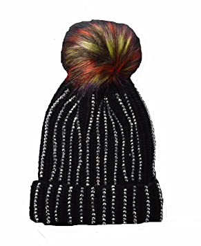 73d491db5a3 Luxury Knitted Diamante Line bobble hat with Faux fur pom (Black ...