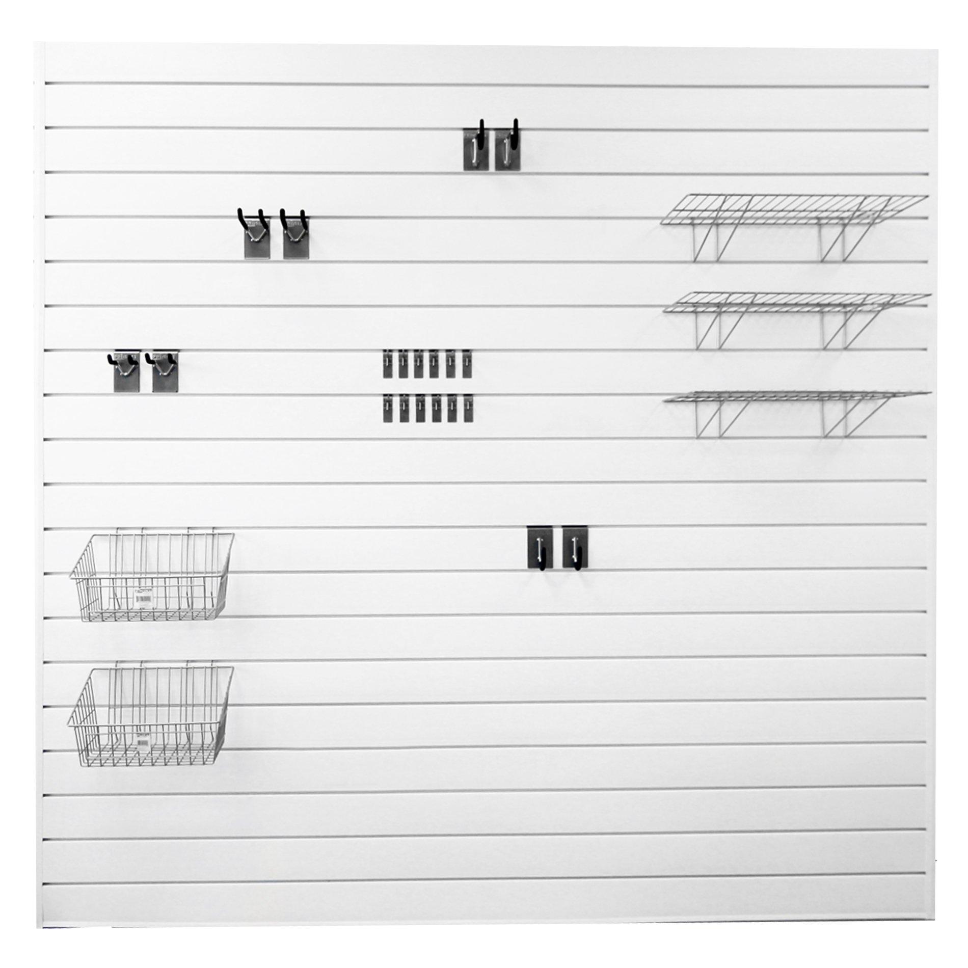 Proslat 33009 Ultimate Slat Wall Bundle with Slat Wall Panels, Hook Kit, Shelf and Basket Kit, White by Proslat