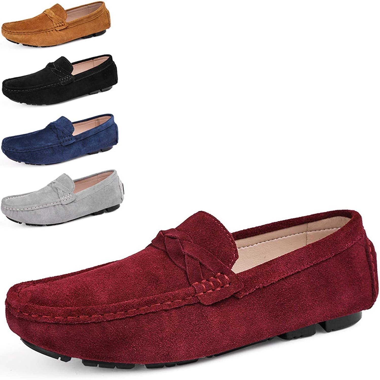 Men Casual Shoes Men Shoes Split Leather Men Loafers Moccasins Slip On Driving Mens Flats Loafers,Red,8