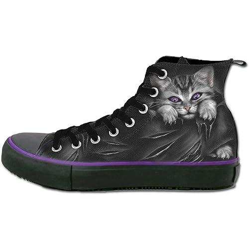 Ojos brillantes, gótico fantasía damas gato de metal zapatillas de deporte zapatillas de deporte negras - 40 - Espiral: Amazon.es: Zapatos y complementos