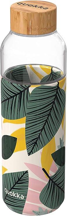 Quokka Flow Palm Leaves 660 ML Cristal | Botella de Agua Reutilizable