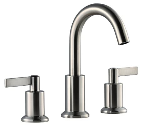 sink faucet. Derengge Solid Brass Two Handle 8 Inch Widespread Bathroom Sink Faucet with  Pop up Drain