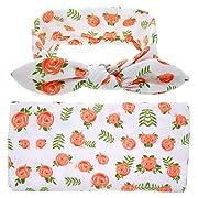TiaoBug Newborn Baby Floral Cotton Swaddle Blanket Sleepbag With Bow Headband Orange, Green One Size