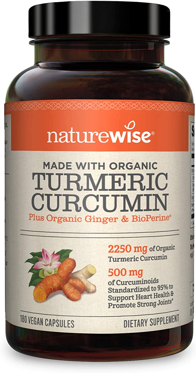 NatureWise Organic Curcumin Turmeric - Capsules - best herbal supplements for depression and anxiety