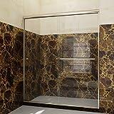 "SUNNY SHOWER B020-6072CB Frameless Glass Sliding Shower Door Clear Glass Brushed Nickel Finish 2 Way Sliding, 60"" W x 72"" H"