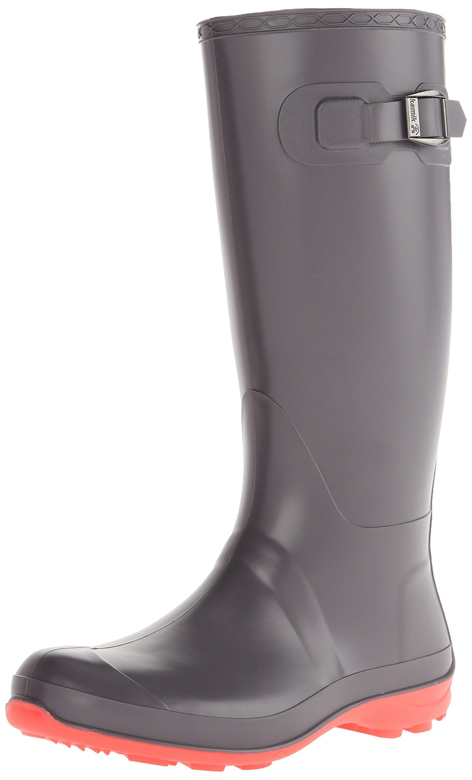 Kamik Women's Olivia Rain Boot, Charcoal W PINK BOTTOM, 9 M US by Kamik