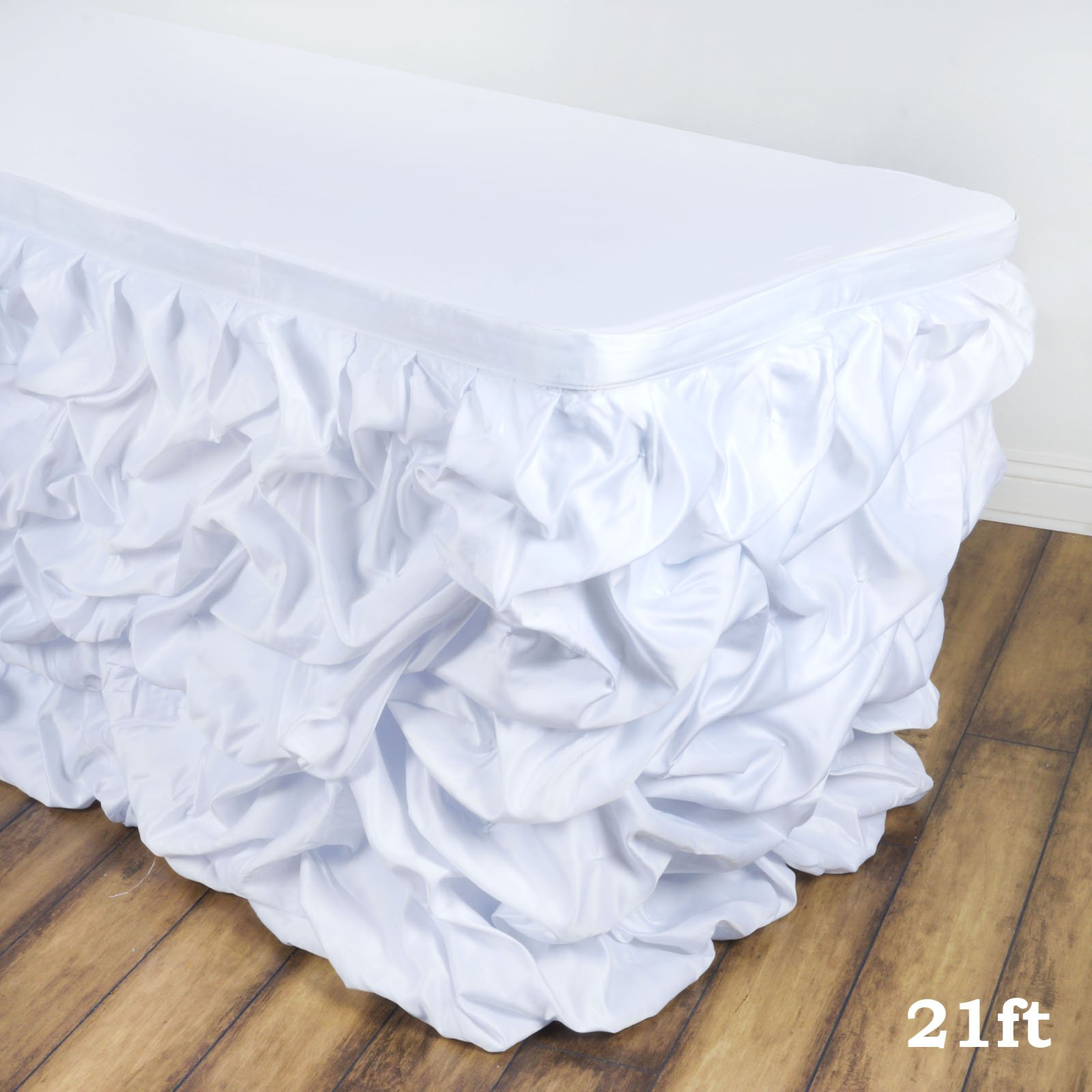 Efavormart Chic Miteux Lamour Satin Table Skirt for Kitchen Dining Catering Wedding Birthday Party Decorations Events - White by Efavormart.com