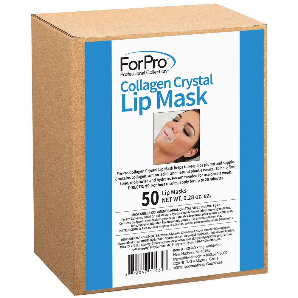 ForPro Collagen Crystal Lip Mask, Hydrating, Anti-Aging, Plumping Lip Renewal Mask, 50 Count by ForPro