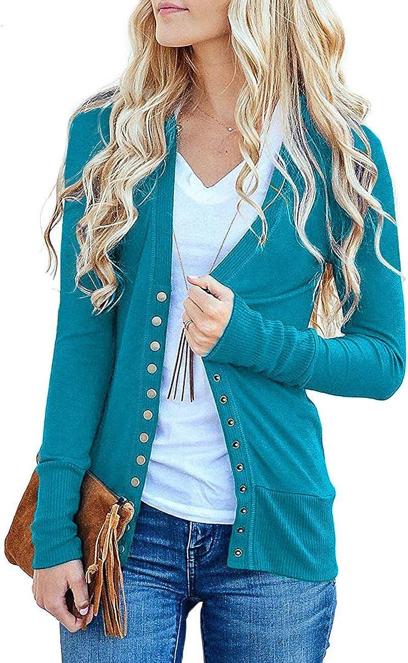 Traleubie Women's Long Sleeve V Neck Button Down Knit Open Front Cardigan Sweater
